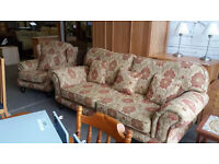 Large 2 seater floral sofa with cushions and wingback chair (delivery available)