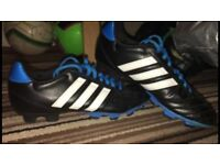 Adidas black, blue and white football boots