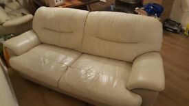 3 + 2 Genuine Leather Cream Sofas Deliver Available