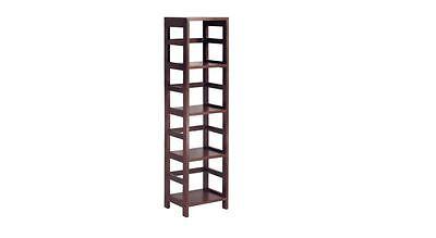 Narrow Shelf Unit Storage With 4 Shelves Wooden Book Case Espresso Tall  ()
