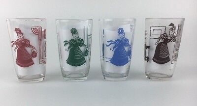 1953 Vintage Swanky Swigs Kraft Bustling Betsy Juice Glasses - Lot of 4