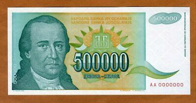 1993 P-119 Circulated 500,000 Yugoslavia 500000 Dinara x 100 Pcs Bundle