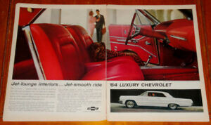 LARGE 1964 CHEVY IMPALA SS WITH SEXY RED INTERIOR AD -ANONCE 60S