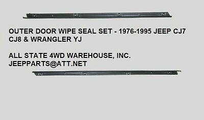 Door Glass Wipe Seal Strip Pair Outer 1976-1995 Jeep CJ7 Wrangler YJ 55024254 55