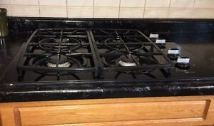 Gas cooktop and electric oven