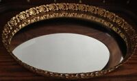Mirrored oval tray with gold border