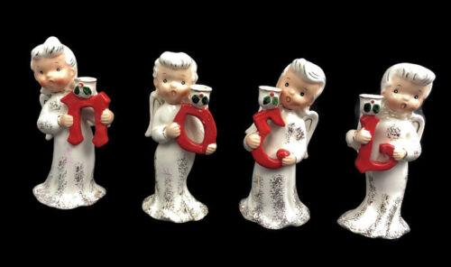 Vintage Napco NOEL Angel Christmas Candle Holder Set 1957