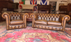 Antique Gold Chesterfield 2 Seater & Club Chair
