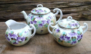 VINTAGE NIPPON TEAPOT CREAM SUGAR TEA CUPS VIOLETS HAND PAINTED