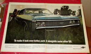 LARGE 1969 CHEVY IMPALA COUPE VINTAGE AD - ANONCE AUTO ANCIENNE
