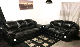 , Dfs ex display black real leather 3+2 seater sofas