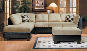 Microsuede and Leather Sectional Sofa