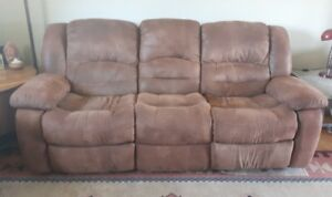 Brown Suede Recliner Couch