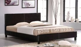 【Free Delivery Modern 】Faux Leather Bed Frame Black Brown 4ft6 Double 5ft King Size