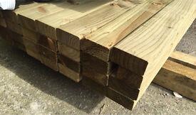 "🌳Tanalised Easy Edge Wooden Lengths/Rails - 4""x 2""X 14Ft -New-🌲"