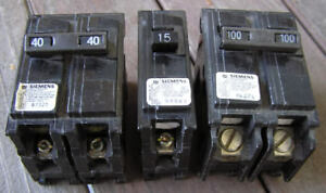Siemens Circuit Breakers, 100 amps, 40 amps & 15 amps