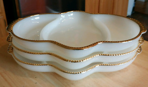 VINTAGE FIRE KING GOLD TRIMMED MILK GLASS DIVIDED  DISHES