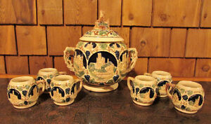 Vintage German Gerz Porcelain Punch Bowl Set – 6 Cups Kitchener / Waterloo Kitchener Area image 1