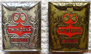COLLECTIBLE VERTICAL POCKET TOBACCO TINS; TWIN OAKS