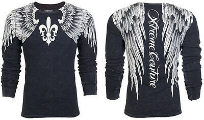 Xtreme Couture AFFLICTION Men THERMAL Shirt AEROSMITH Wings Tattoo Biker UFC $58