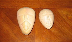 Soapstone Face carvings (lids and bases)