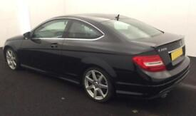 2014 BLACK MERCEDES C220 2.1 CDI AMG SPORT EDITION COUPE CAR FINANCE FROM 50 P/W