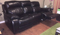 Real leather double reclining sofa on sale