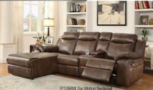 Contemporary Leather Recliner Sectional with Console Two Cup Hol