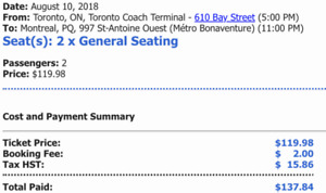 Megabus tickets: Toronto to Montreal 5pm Aug 10 Friday