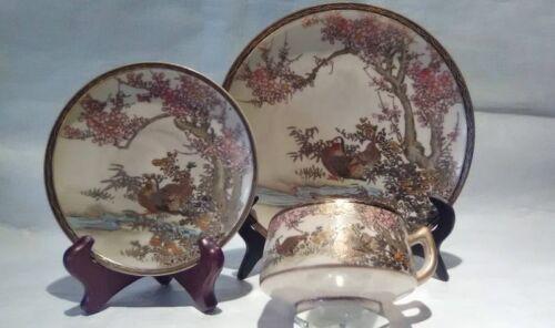 """Meiji Satsuma 3 piece tea set signed """" Cherry Blossom"""""""