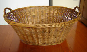 Large Vintage French Country Wicker Laundry Basket - 1940