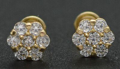 14k Solid Yellow Gold Created Diamond Floral Stud Earrings ScrewBack  Floral Gemstone Earrings