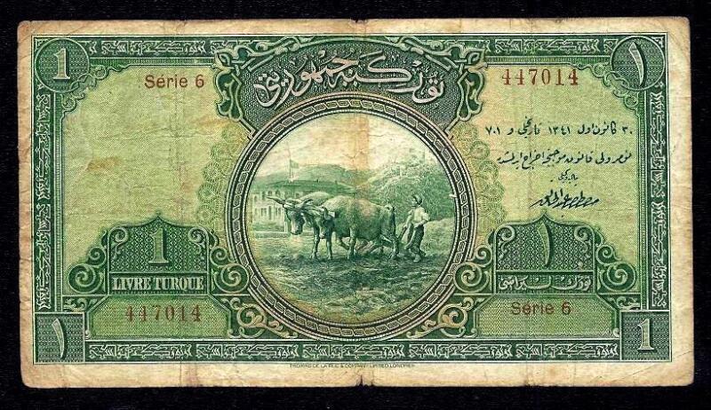 TURKEY 1 TURKISH LIRA LIVRE 1926  P#119  ** SERIE 6 ** very rare