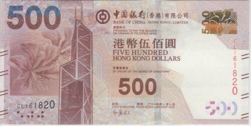Hong Kong Banknote P344d new var. 500 Dollars  Bank of China  1.1.2014 ,  UNC