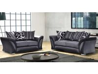 EXPRESS DELIVERY -- NEW SHANNON CORNER or 3 AND 2 SEATER SOFA IN LEATHER & FABRIC, in BLACK or BROWN