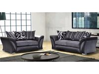Luxury Suzanne 3&2 or Corner Chenille & Leather Fabric Suite
