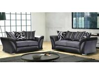 ⭐️🌟✨Discount Sale Price⭐️🌟✨ CHENILE FABRIC CORNER/ 3 AND 2 SEATER SOFA-BLACK AND GREY COLOR ONLY