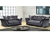SHANNON CORNER SOFA 3 + 2 SEATER IN LEATHER & CHENILLE FABRIC in BLACK or BROWN SAME\NEXT DELIVERY