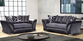 BRAND NEW LUSH SHANNON CORNER OR 3 SEATER 2 SEATER SOFA SUITE SETTEE COUCH BLACK & GREY FABRIC SOFA