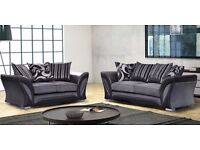 BRAND NEW SHANNON LEATHER & FABRIC 3+2 SEATER SOFA IN BLACK GREY BROWN BEIGE