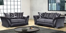 🔵⚫SHANNON CORNER SOFA 🔵⚫3 AND 2 SEATER IN LEATHER & CHENILLE FABRIC, in BLACK or BROWN