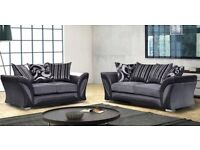 Shannon chenille fabric corner and 3+2 seater sofa set in grey and black color