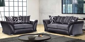 70% OFF: BRAND NEW LUSH Fabric 3 and 2 seater sofa available colours black and grey or brown & beige