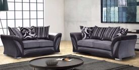 Cheapest Guaranteed ! Shannon 3 + 2 Seater Sofa Grey Black / Brown Mink Fabric Faux Leather Settee
