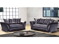 BRAND NEW SHANNON 3 + 2 SEATER CHENILLE FABRIC SOFA SETTEE, DUAL ARM CORNER SUITE IN GREY AND BEIGE