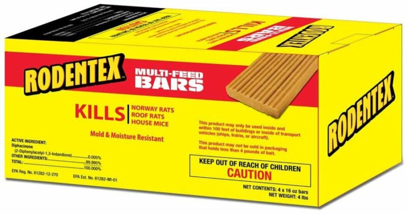 Rodentex Multi-feed Bars Kills Rats & Mice 16oz 4 Bar, 4lbs