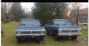 1975 & 1973 pickup and trailer