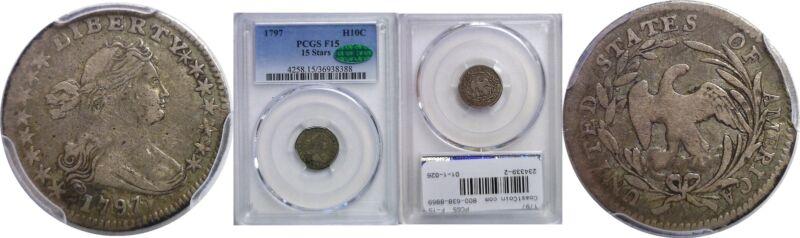 1797 Bust Half Dime PCGS F-15 CAC 15 Stars