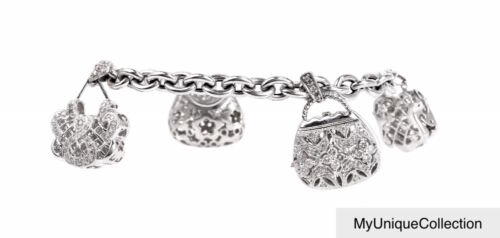 1.30ctw Diamond 14K White Gold Four Purse Motif Charm Link Bracelet Size 7""