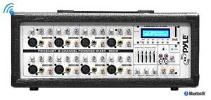 Pyle PMX840BT 8-Channel 800 Watt Bluetooth Mixer with Balanced Mic & Line Inputs, USB & SD Card Readers